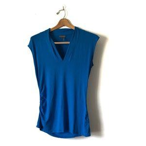Vince camuto blue blouse v neck sz large